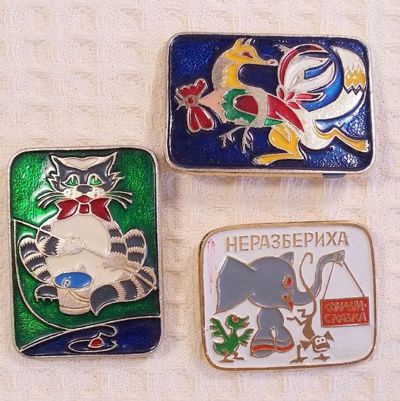 Vintage Cartoon Characters Pins Cartoon от USSRVintageShopUSSR
