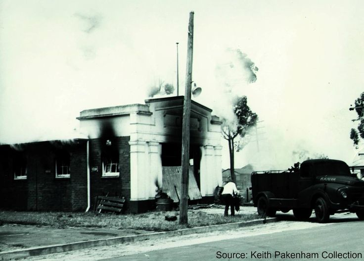 A fire in Kaniva Fire Brigade's own station. With the building alight and their Austin small town unit pumper badly burnt they had to wait for surrounding brigades to respond as they couldn't attack the fire. The pumper though out of the station was still badly damaged. The station was built in 1931. From CFA Facebook.