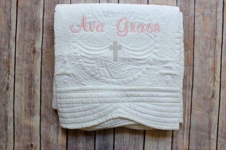 Monogrammed Baby Quilt, Christening Quilt, Baptism Quilt, Baby Girl Quilt, Personalized Baby Quilt, Monogrammed Baby Blanket, Baby Girl