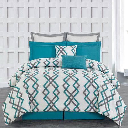 8-Piece Kelsey Comforter Set in Teal Grey