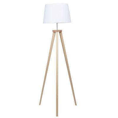Lampadaire blanc avec trépied en hêtre naturel et abat-jour en coton intérieur PVC.<br>Dim. 57x52x157 cm.