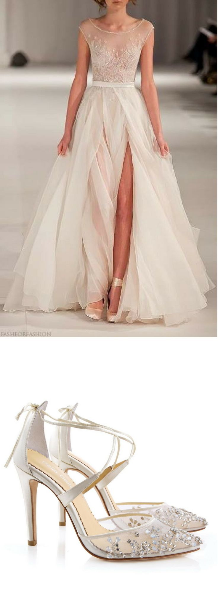"- Florence - 'Enchanted' bridal collection - Hand beaded with milky teardrop stones and beads - Cross ankle straps - Lovely tied bow at heel cups - Intricate and luxurious - Ivory - 3 3/4"" inch heels"