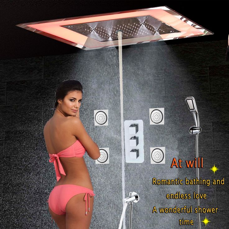 Luxury LED Bathroom Shower mixer Massage Spa Jet Wall Mounted Bath Shower Faucet Ceiling Rainfall Mist Bubble Shower Spout Rain  #Affiliate
