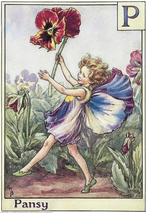 Illustration for the Pansy Fairy from Flower Fairies of the Alphabet. A girl fairy dances towards the left, holding a pansy in the air in her right hand.  										   																										Author / Illustrator  								Cicely Mary Barker