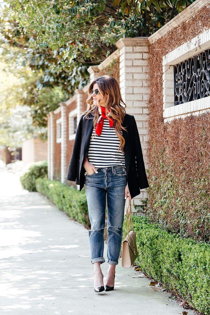 boyfriend jeans, striped tee, red neck scarf 5