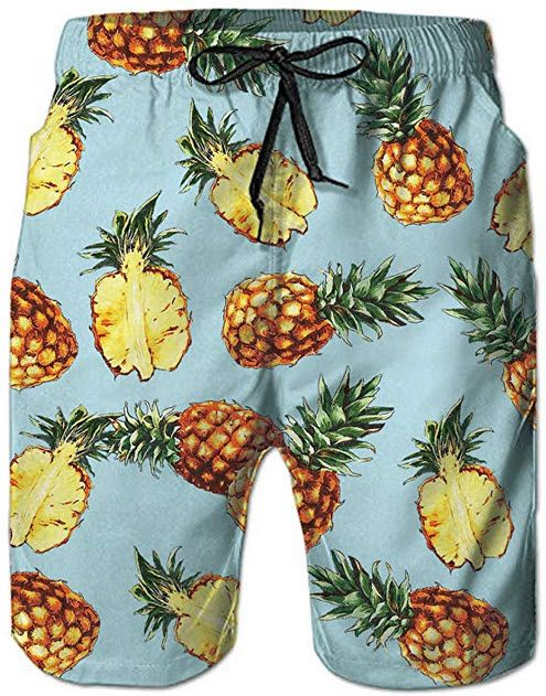 541761495b60b RAISEVERN Swim Trunks Summer Beach Shorts Pockets Boardshorts for Men with Mesh  Lining light pineapple