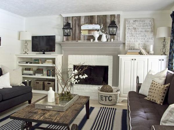 BEYOND OBSESSED!!!! I will do this room! TV isn't center, beautiful grey mantle, black white and grey everything <3 love