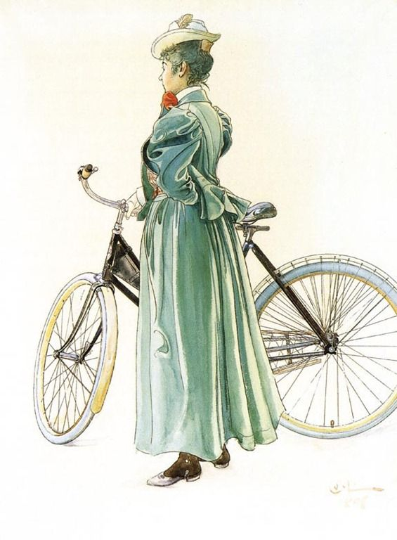 Carl Larsson - Woman With Bicycle