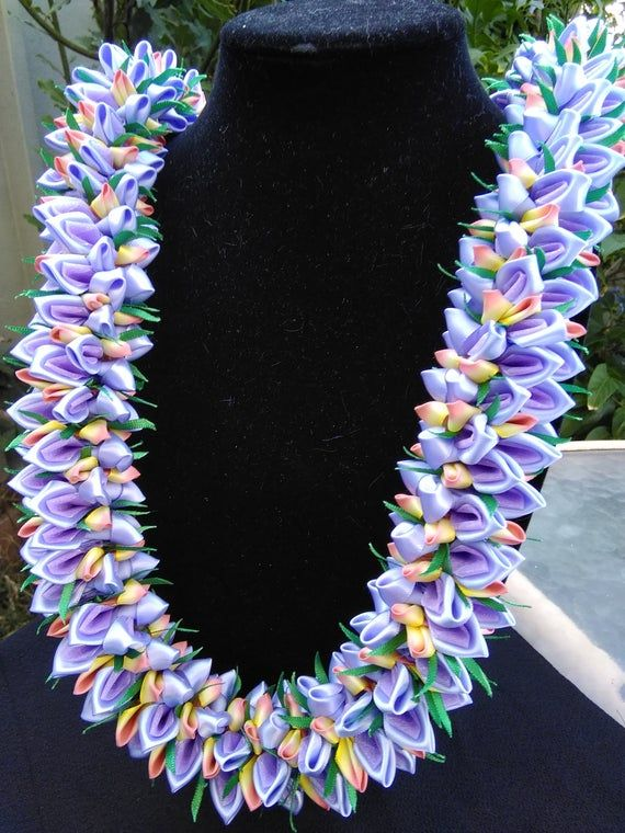 Purple Sunset hawaiian ribbon lei