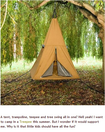 so cool - a new product that combines the timeless appeal of a tree house with the excitement of aerial suspension and a trampoline to create a whole world of possibilities. -  www.treepee.com