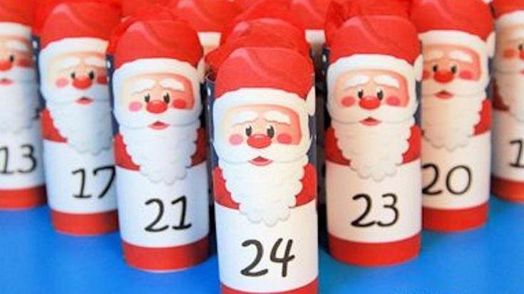 Adventskalender aus Klorollen basteln   Adventkalender ...