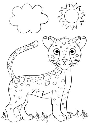 Cute Cartoon Jaguar Coloring page