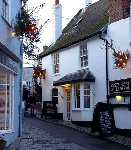 Lyme Regis coastal town at Christmastime,  Dorset, England