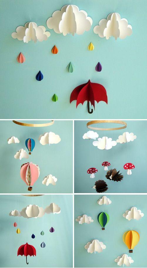 Decoração: Móbile de papel dimensional | by Jessica Santin (Jehhhhh)