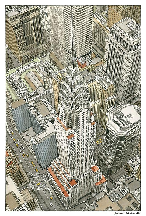 Chrysler Building - New York by Simon Fieldhouse ( Sydney 1956 - )