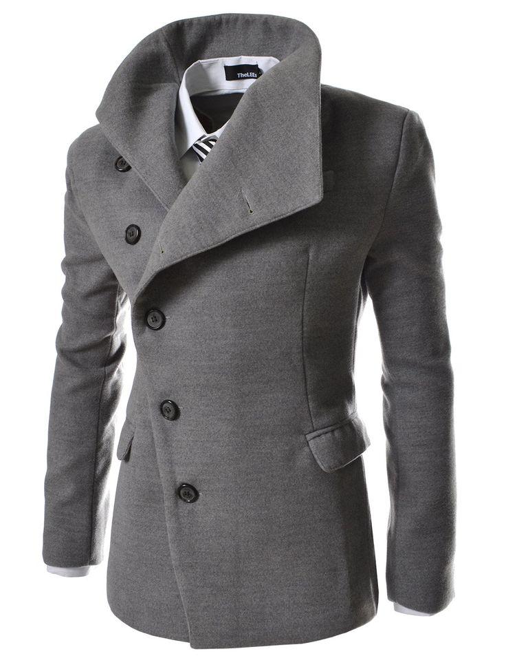 TheLees (AJK) Herren Unwucht Stehkragen Slim PEA Mantel Jacken: Amazon.de: Bekleidung