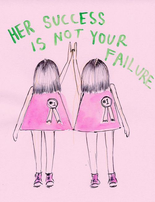 I think this is something that's SO important to remember. Someone else's success is not our failure. Just because someone is a few steps ahead of us doesn't mean that we too can't accomplish what they have, even if it's in a seriously competitive field. There is enough pie for everyone to have a slice xx