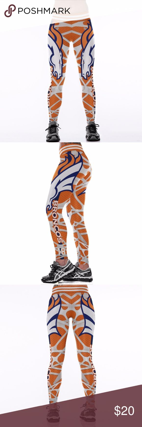 Denver Broncos Leggings Lightweight soft- quick dry breathable fabric Suitable for any kind of workout, gym, yoga, Zumba, cycling, etc. or casual wear High-quality construction with 6-thread double lock stitch seams Four-way Stretch Material: 82% Polyester, 18% Spandex Pants Leggings