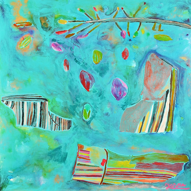 Obra: Piedras, carbón y ramas con frutos Artista: Yasna Cid Expo Zoom al Paisaje