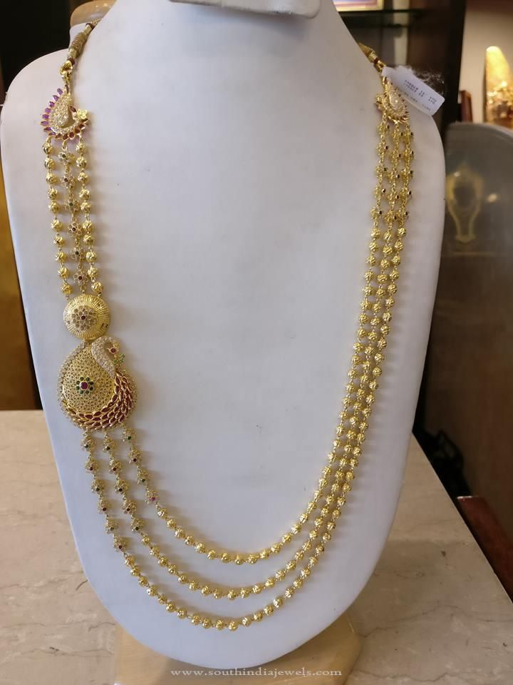 Multilayer Gold Haram With Peacock Side Locket