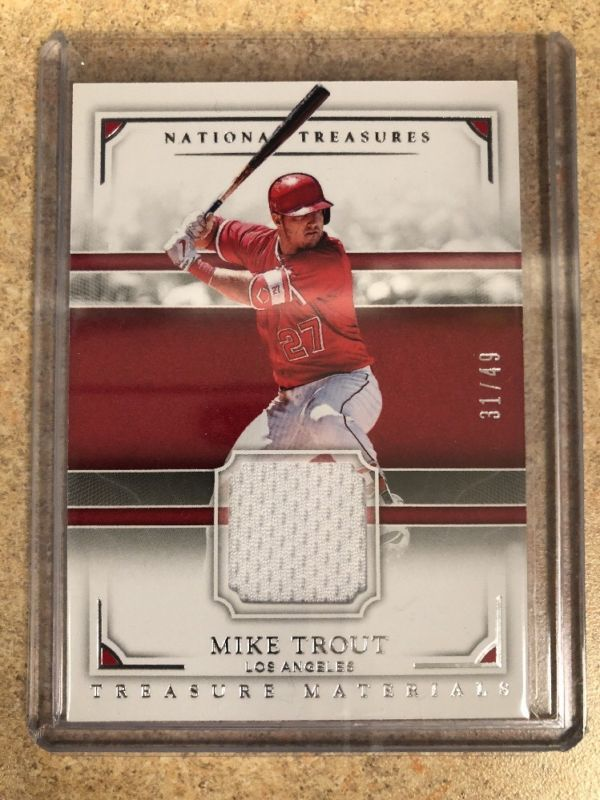 sports shoes fb385 67ab7 2017 National Treasures MIKE TROUT Game Used Jersey Relic ...