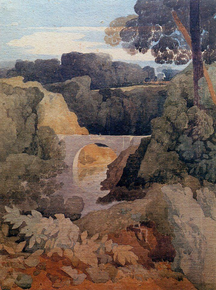 John Sell Cotman (1782 — 1842, UK) New Bridge, Durham. 1805 watercolour. 43.9 x 32.5 cm.