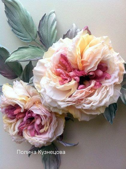 """Староанглийская роза """"Жози"""" - цветы из ткани,цветы ручной работы,шелк"""