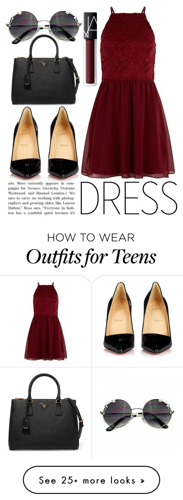 """Winter Dresses Under $100"" by fabubilous on Polyvore featuring New Look, Christian Louboutin, Prada, NARS Cosmetics and vintage"