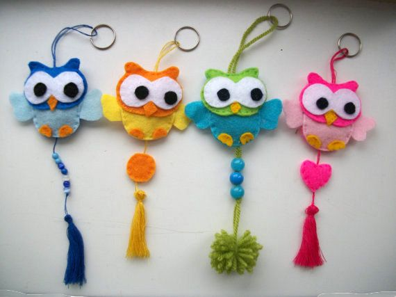 Cute keychain with owl of felt - Keychain - Hanger