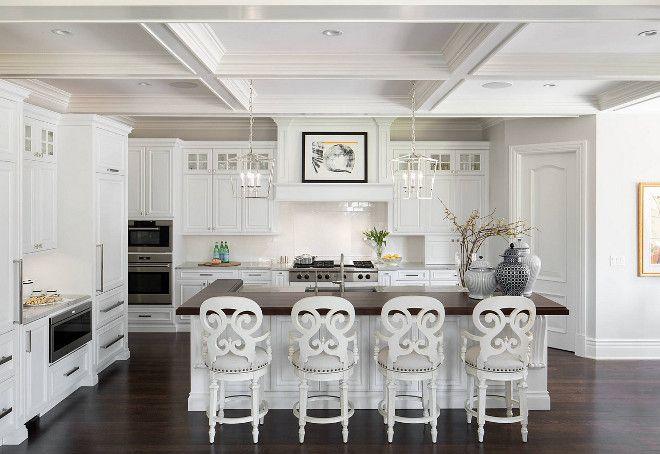 AN ALL WHITE KITCHEN NEEDS A DARK FLOOR TO GROUND IT.  100 Interior Design Ideas