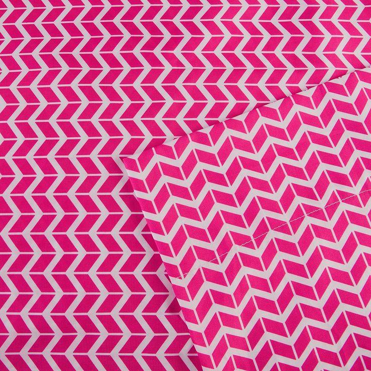 Intelligent Design Chevron Sheets, Pink Twin Xl