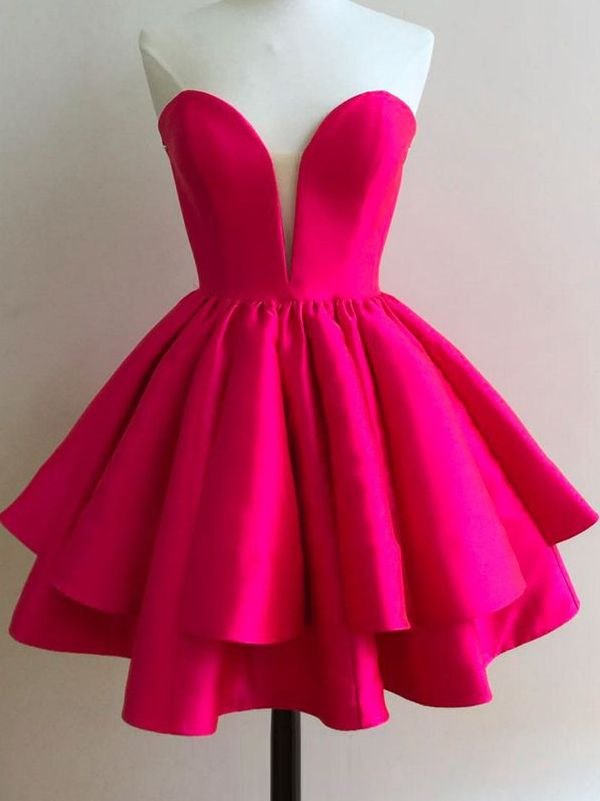 2017 short homecoming dress, hot pink homecoming dress, cute party dress