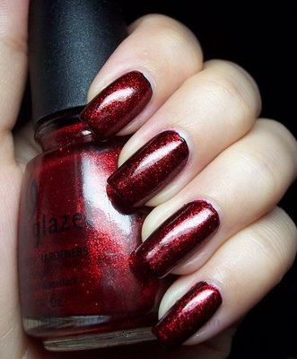 China Glaze, Ruby Pumps - This is the shape I like for my nails too.  It is a rounded square tip.