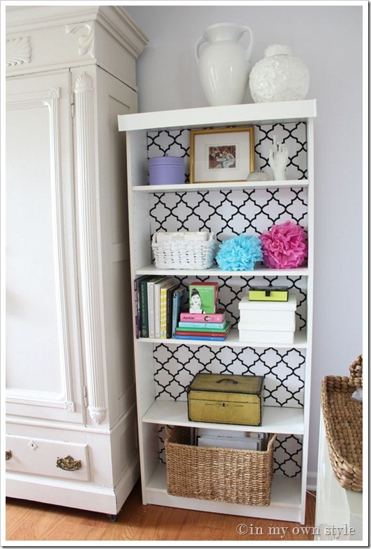 A touch of wallpaper has transformed this plain bookcase.