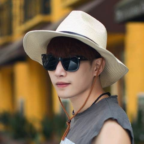UV protection straw sun hat for men package design beach hats