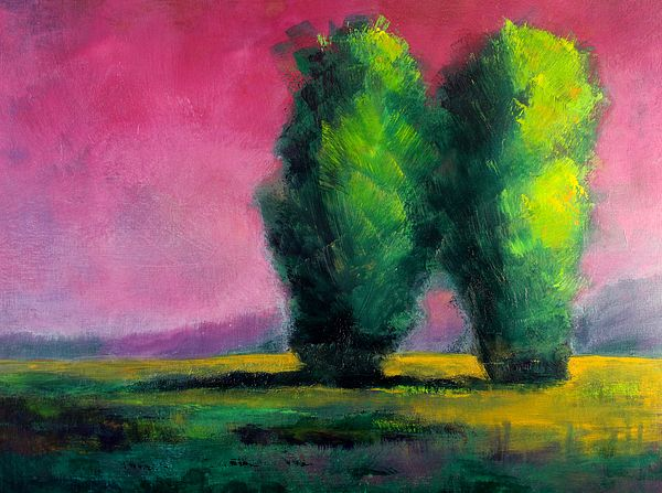 Two Sentinels Landscape Tree Painting by Nancy Merkle