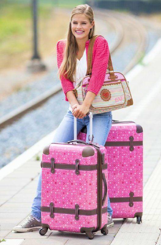 LIEF!! Trolley koffer set/2 Around the World roze