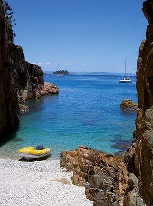 Becalmed: a secluded cove in the Whitsundays. Queensland #Australia