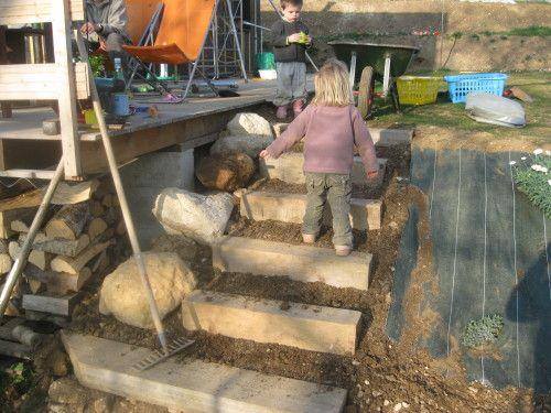 Salut, Sur une idée originale de ma douce Agathe, nous avons utiliser de morceaux de la structure bois laissés par le constructeur pour réaliser les nez de marche d'un escalier exterieur. Leur fixation a été assurée par des tiges de ferraillage de 70-80cm...