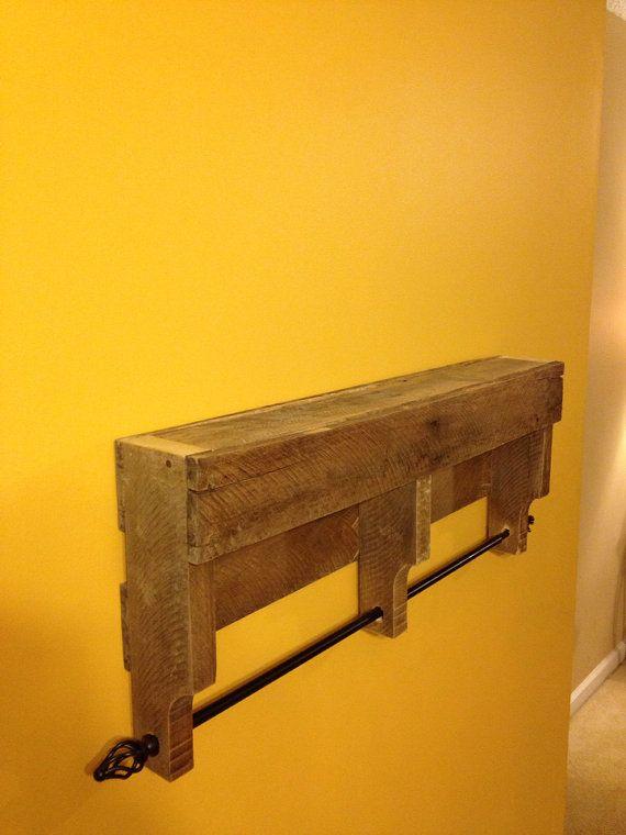 Rustic Pallet Towel Rack Shelf