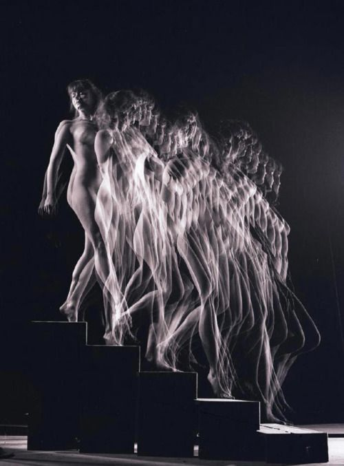 A photographic rendering of Marcel Duchamp's Nude Descending a Staircase No. 2 by Gjon Mili.