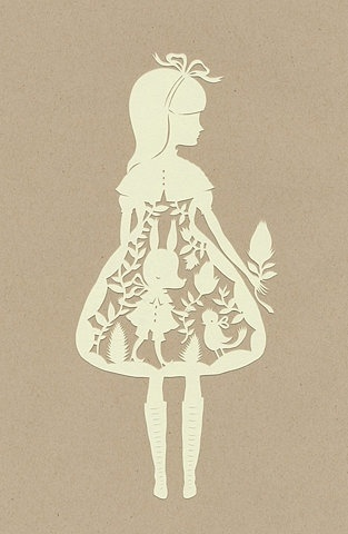paper cutting art - girl in dress
