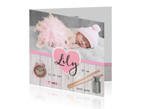 Laat jij een fotograaf komen voor het maken van een babyfoto, of maak je liever zelf een foto van je kindje?Voor dit kaartje is het leuk als je een foto van je slapende baby maakt en dit op de kaart plaatst. Zo maak je zelf je geboortekaartje. Je kunt het hartje met de naam van je dochter erin plaatsen waar jij wilt en ook de centimeter, het klokje en het gewichtje verschuiven. <br /> <br /> <strong>Maak je bestelling compleet:</strong> <div class&#...