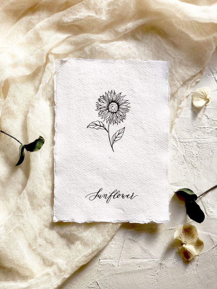 Botanical illustration. Modern florals. The sunflower- flower of happiness