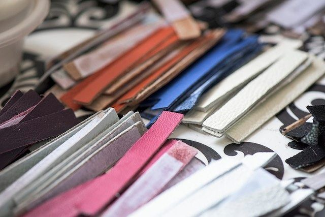 Colourful leather waiting to be made into leather tassels to adorn your tote!