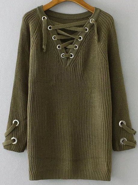 Shop Army Green Eyelet Lace Up V Neck Sweater online. SheIn offers Army Green Eyelet Lace Up V Neck Sweater & more to fit your fashionable needs.