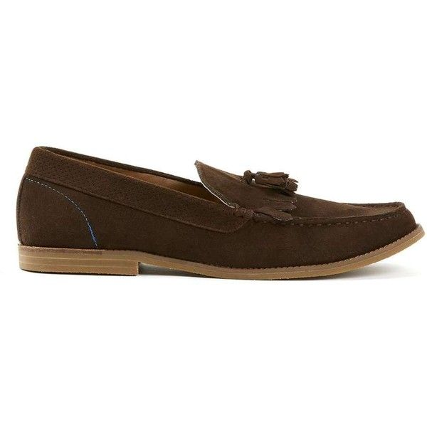 TOPMAN Brown Faux Suede Tassle Loafers (69 CAD) ❤ liked on Polyvore featuring men's fashion, men's shoes, men's loafers, brown, mens tassel loafer shoes, topman mens shoes, mens brown loafer shoes, mens loafers shoes and mens tassel shoes