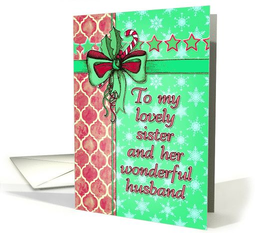 Christmas card for sister and husband / brother-in-law - Moroccan pattern, snowflakes, pink, mint green