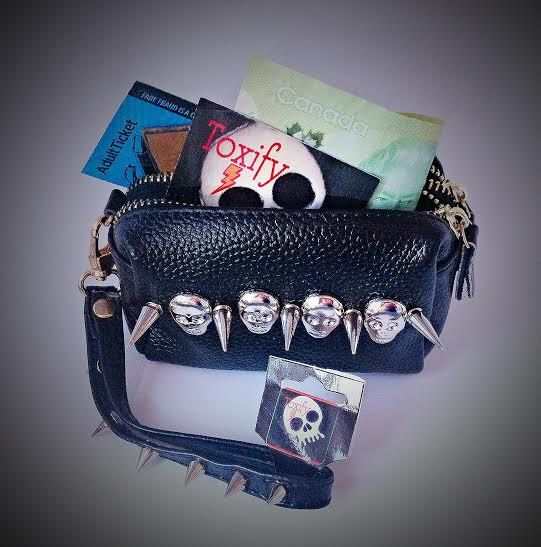 Skulls n Spikes Genuine Leather Clutch Coin Purse by ToxifyDesigns