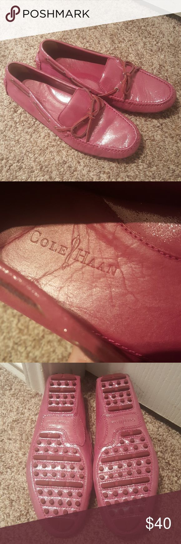 Cole Haan drivers Irredecent pink Cole Haan drivers. Perfect condition. Hardley worn Cole Haan Shoes Flats & Loafers